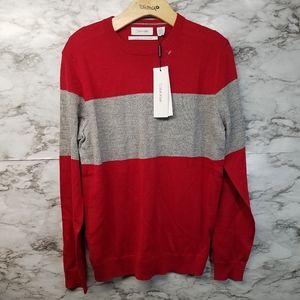 Calvin Klein Mens Sweater Red Gray European Yarn